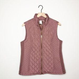 Adrienne Vittadini Mauve Quilted Puffer Vest